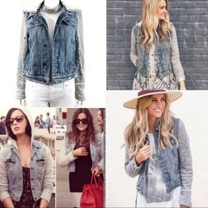 Free People Knit Hooded Denim Jacket •Blogger Fav!
